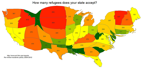 Map of refugees by state 2009-2012