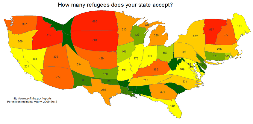 map of refugees by state 2009 2012