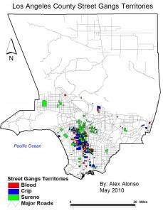 Gang terriroty in Los Angeles