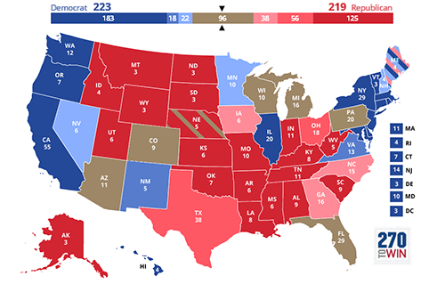 Interactive 2020 electoral college map - 270 to win