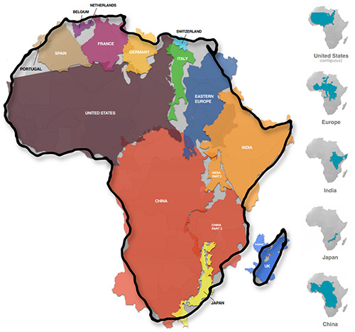 True size of Africa compared to other countries - VisualCapitalist